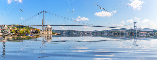 Fotografering Ortakoy Mosque and Bosphorus Bridge, Istanbul panorama, Turkey