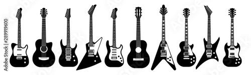 Fotografie, Obraz Black and white guitars