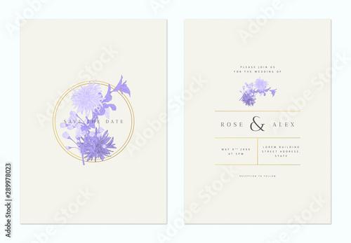 Billede på lærred Minimalist floral wedding invitation card template design, sakura and chrysanthe
