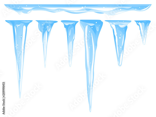 Fotografia Blue frozen icicle cluster hanging down from snow-covered ice surface, set of di