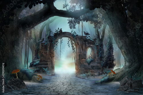 Stampa su Tela Archway in an enchanted fairy forest landscape, misty dark mood, can be used as