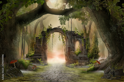 Billede på lærred Archway in an enchanted fairy forest landscape, misty dark mood, can be used as