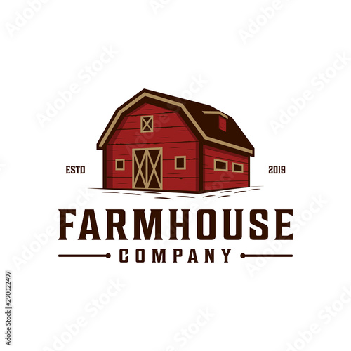 Fototapeta Farmhouse,warehouse / barn vintage logo design