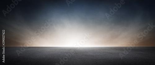 Obraz na płótnie Dark Concrete Asphalt Street Floor Background with Beautiful Atmospheric Sky