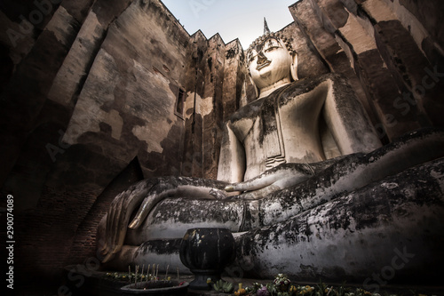 Canvas Print Old Buddha in Sukhothai Historical Park with UNESCO, Thailand