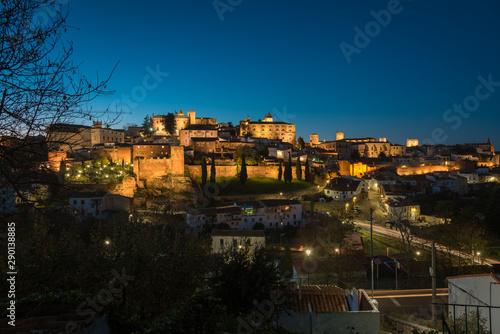 Night cityscape of the monumental city of Cáceres, UNESCO World Heritage City, Extremadura, Spain.