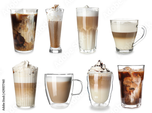 Set of delicious coffee drinks on white background Poster Mural XXL
