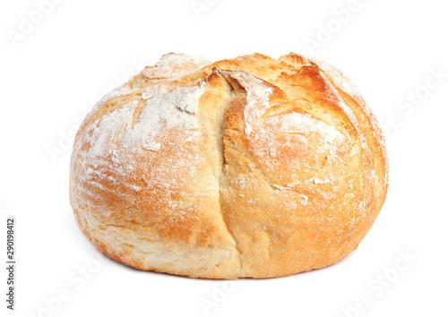 Carta da parati Loaf of fresh bread on white background
