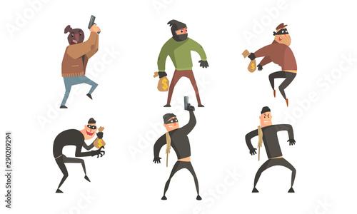 Fotografia Criminals Characters Set, Masked Robbers Holding Guns and Money Sacks Vector Ill
