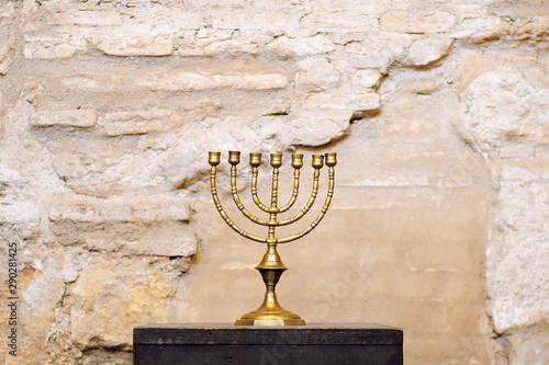 Menorah inside the Jewish synagogue of Cordoba built in 1315 Fototapeta