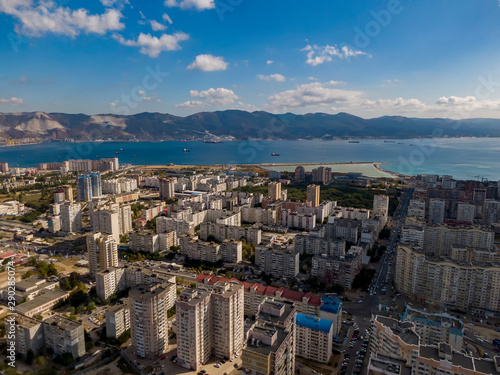 фотография Aerial view of city and bay