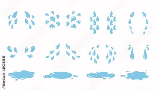 Valokuva Cartoon tear drops and puddles set