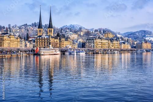 Stampa su Tela Lucerne city on Lake Lucerne, Switzerland, in winter