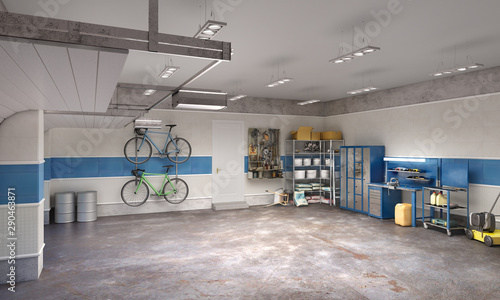 Tablou Canvas Large garage in whie and blue tones, 3d illustration