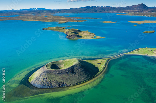 volcanic craters in Iceland aerial view from above, Myvatn lake Fototapeta