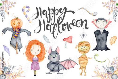 Carta da parati Watercolor set with cute Halloween cartoon characters