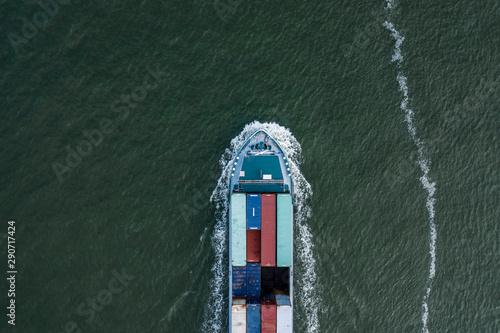 Bird's Eye View of a Small Container Cargo Ship Fototapeta