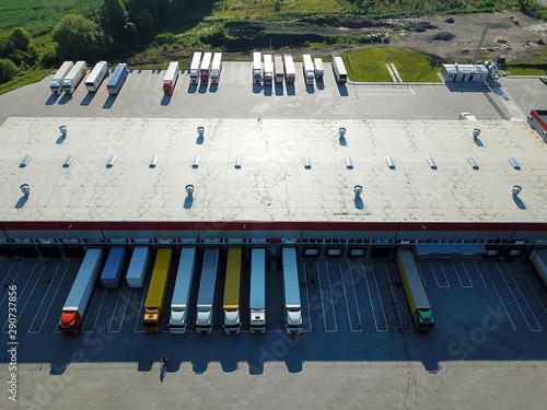 Fotografie, Tablou Aerial view of goods warehouse