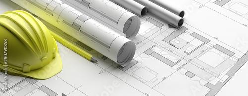 Valokuva Residential building blueprint plans, banner. 3d illustration