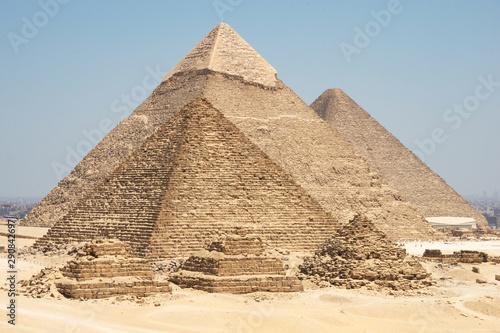 The Giza pyramid complex, also called the Giza Necropolis on the Giza Plateau in Fototapeta