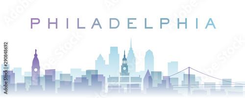 Fotografie, Obraz Philadelphia Transparent Layers Gradient Landmarks Skyline
