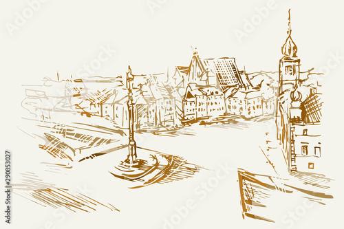 Ilustracja ręcznie wykonana. Przedstawia Plac Zamkowy w Warszawie #290853027