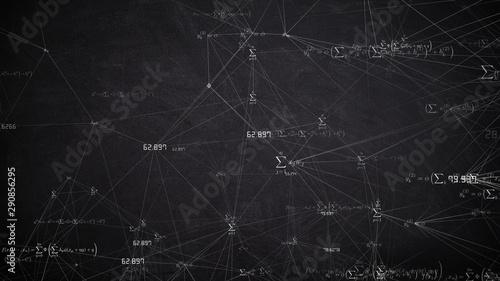 Photo Mathematics and physics formula calculation in abstract digital space - illustra