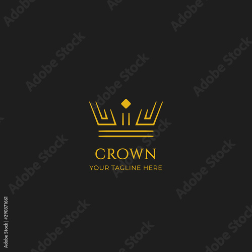 Wallpaper Mural Unique gold crown logo icon in double line strip outline vector style