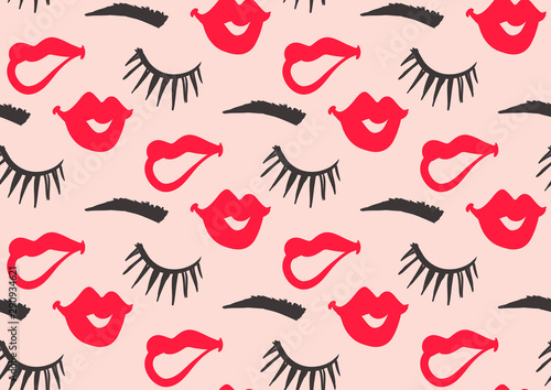 Carta da parati seamless pattern with lips and eyelashes