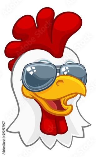 Obraz na płótnie A chicken rooster cockerel bird cartoon character in cool shades or sunglasses
