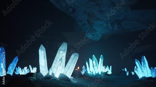 Fotografia, Obraz Blue mystical cave with the magic of sparkling crystals