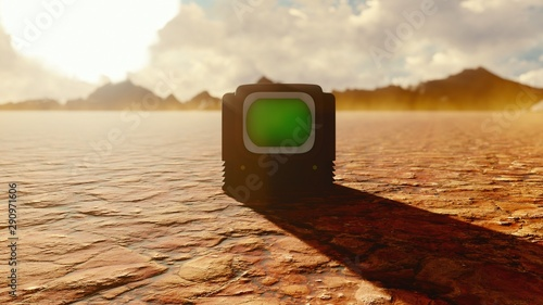 Fotografia Vintage TV with green screen in the middle of the Apocalyptic desert