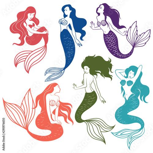 Photo Set of silhouette mermaids