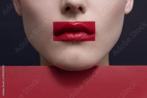 Fotografie, Obraz Close up, young woman lips with avant garde fashion art makeup