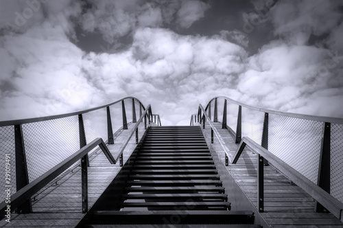 The stairs to the sky. Up the stairs. Black and white photography Fototapet