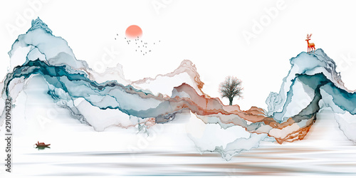 Fotografia Abstract background ink line decoration painting landscape artistic conception