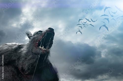 Wallpaper Mural werewolf on Halloween background 3D render