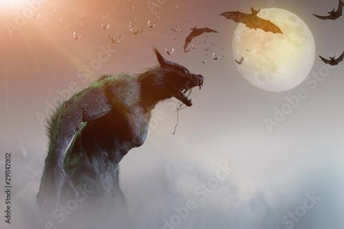 Photo werewolf on Halloween background 3D render