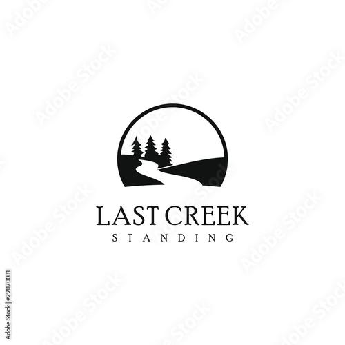 Fotomural pine creek logo valley vector simple modern river design template