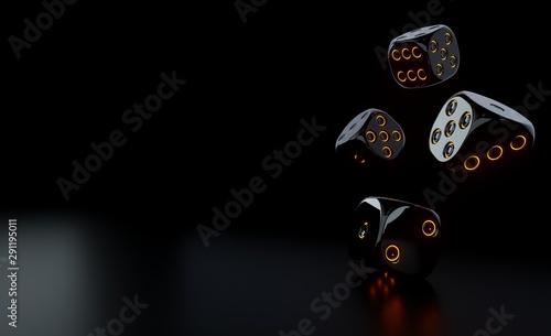 Fotografiet Futuristic Black Dices With Glowing Orange Neon Lights - 3D Illustration