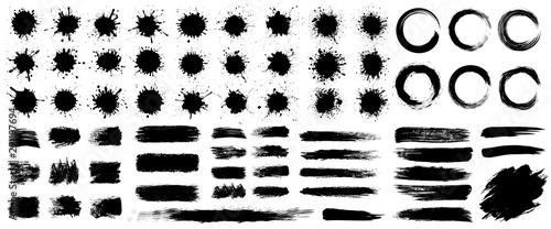 Fotografia, Obraz Set different splash, collection brush strokes – stock vector