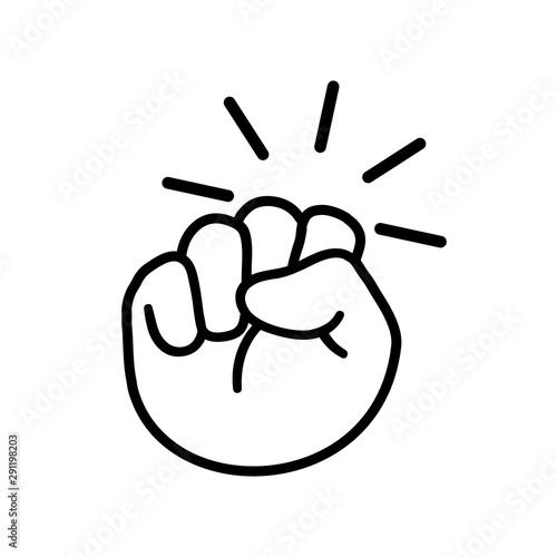 Foto Hand knocking on door logo icon, fist knocking sign - stock vector