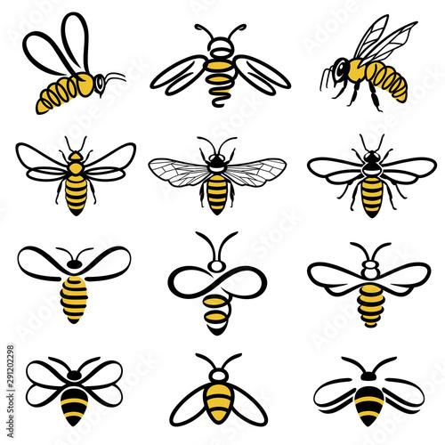 Fototapeta Honey bee set