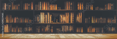 Naklejka na szafę Panorama regału z  książkami