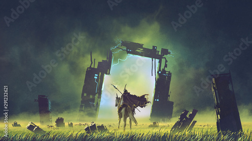 Foto the futuristic knight on a black unicorn entering the broken portal to another w