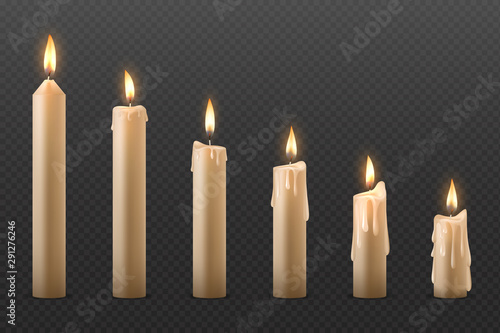 Wall mural Candle flame. Burning realistic 3D wax candle, different Christmas birthday church and party glowing candles. Vector set isolated romantic objects candlelight