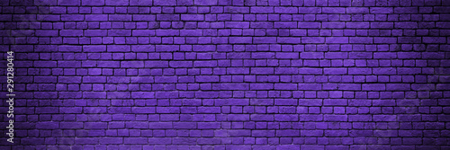 Long Panorama Of Purple Or Lilac Brick Wall With Vignette. Purple Brick Wall As Background To Place Text Or Graffiti. Copy Space And Abstract Web Banner.