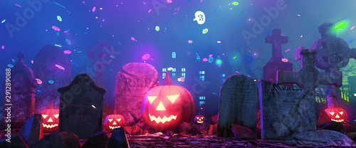 Slika na platnu Graveyard on halloween fantasy night,3d illustration