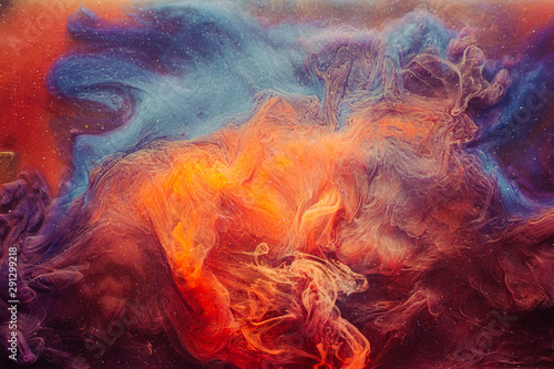 Canvastavla Fume background. Mysterious aura. Orange blue glitter haze.