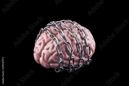 Human brain with chain. Free your mind concept Fototapet